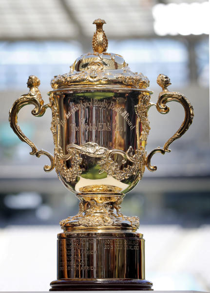 The Rugby World Cup trophy is displayed at the Tokyo stadium, in Tokyo, Japan, Thursday, Sept. 19, 2019. The Rugby World Cup starts Friday, Sept. 20, with Japan playing Russia, and ends with the final on Nov. 2. (AP Photo/Christophe Ena)