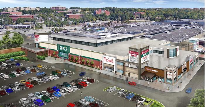 A rendering of a former department store building redeveloped for multiple tenants