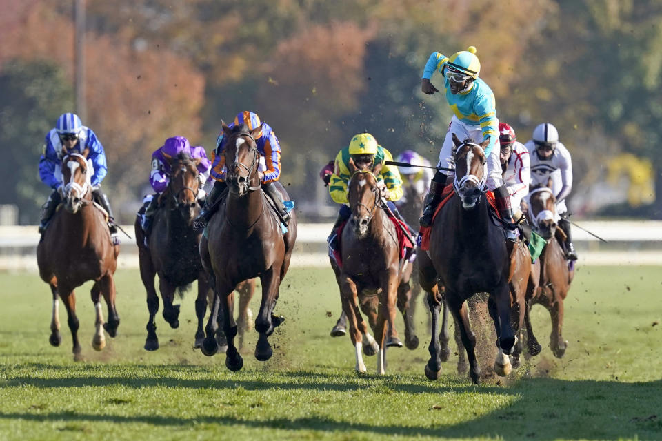 Jockey Ricardo Santana Jr., front right, celebrates after riding Fire At Will to win the Breeders' Cup Juvenile Turf horse race at Keeneland Race Course, Friday, Nov. 6, 2020, in Lexington, Ky. (AP Photo/Mark Humphrey)