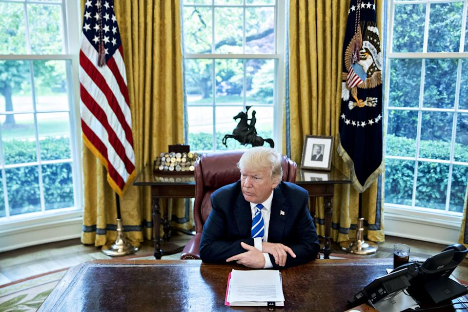 President Donald Trump in the Oval Office. Source: Getty