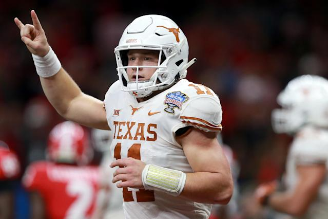 "Texas quarterback <a class=""link rapid-noclick-resp"" href=""/ncaaf/players/275098/"" data-ylk=""slk:Sam Ehlinger"">Sam Ehlinger</a> had three rushing touchdowns in a Sugar Bowl win over Georgia. (Photo by Sean Gardner/Getty Images)"