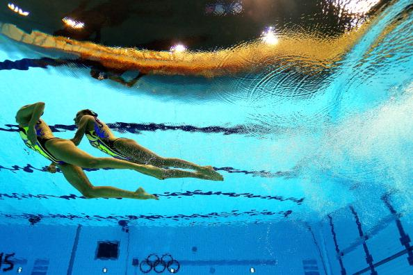 Kseniya Sydorenko and Daria Iushko of the Ukraine compete compete in the Women's Duets Synchronised Swimming Technical Routine on Day 9 of the London 2012 Olympic Games at the Aquatics Centre on August 5, 2012 in London, England. (Photo by Clive Rose/Getty Images)