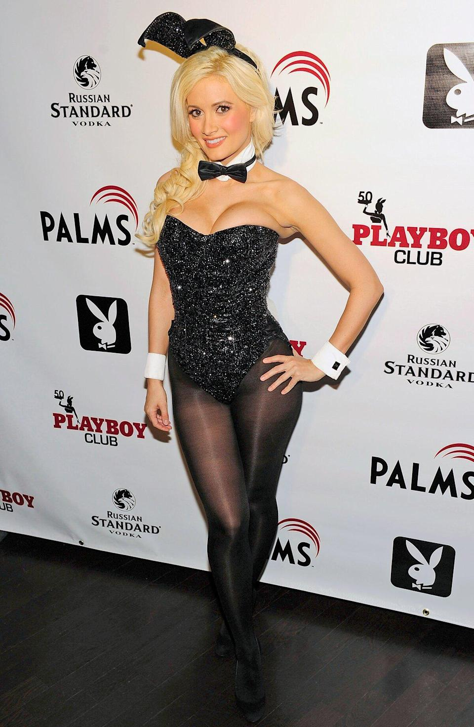 Television personality Holly Madison arrives for the Playboy Club's 50th Anniversary at The Playboy Club in The Palms Casino Resort on June 10, 2010