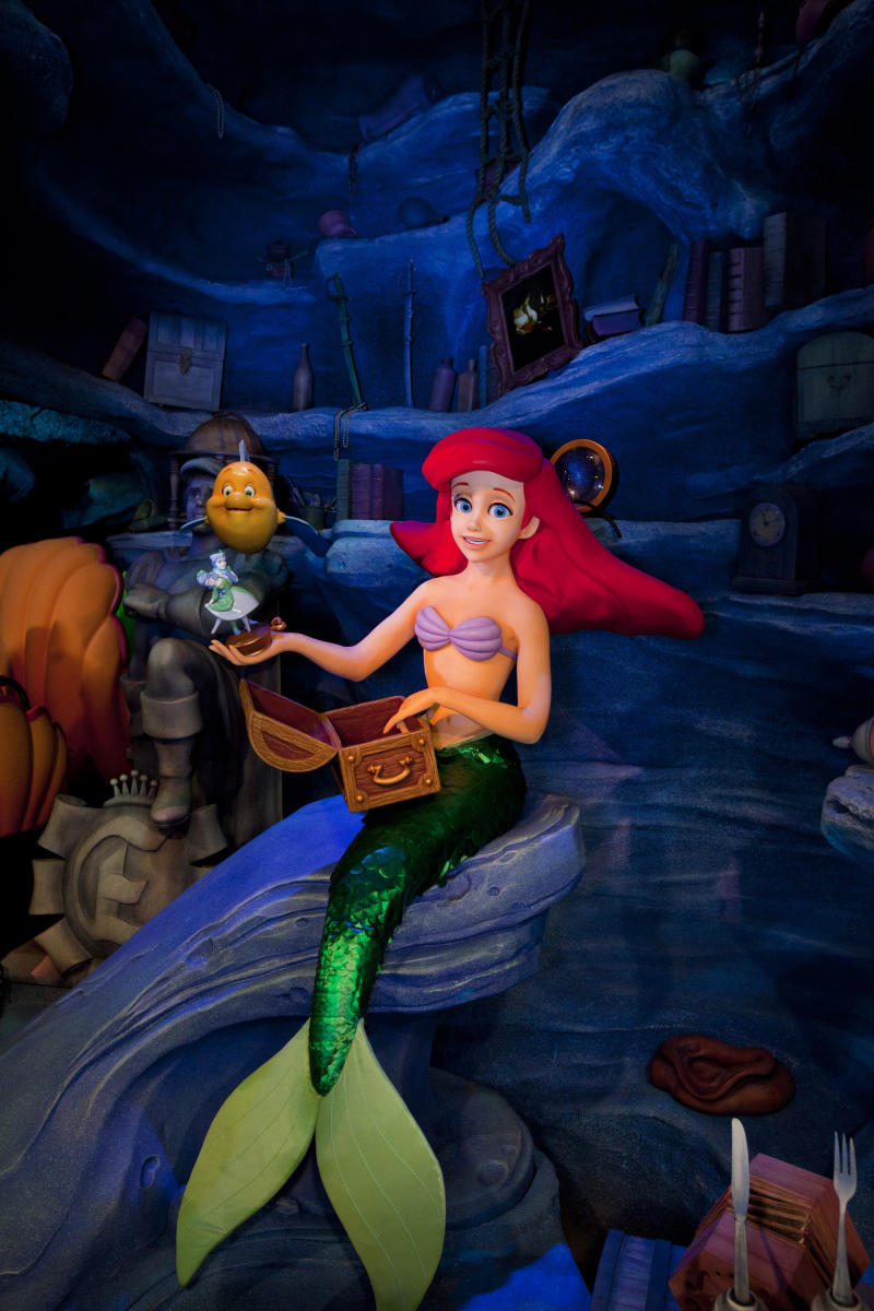This computer generated image courtesy of Disneyland Resort shows audio-animatronics characters from The Little Mermaid _ Ariel's Undersea Adventure attraction in Anaheim, Calif. This year, Disney California Adventure in Anaheim debuts The Little Mermaid _ Ariel's Undersea Adventure as part of a multiyear billion-dollar expansion of the park. The family-friendly ride features characters from the popular movie as riders travel on a virtual underwater journey.      (AP Photo/Disneyland Resort, Paul Hiffmeyer)