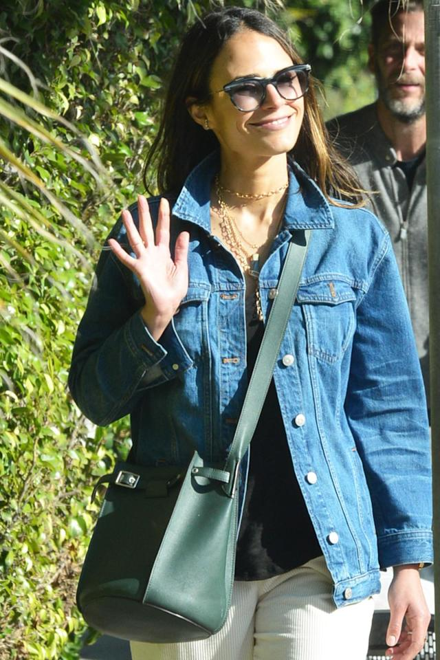 "<p>Jordana Brewster wears a jacket that says, ""Have a nice day,"" and a big smile while on a walk through sunny Brentwood, California, on Thursday.</p>"