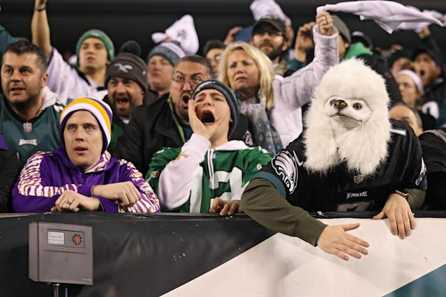 Philadelphia Eagles fans cheer during their team's 38-7 victory over the Minnesota Vikings. (Getty)