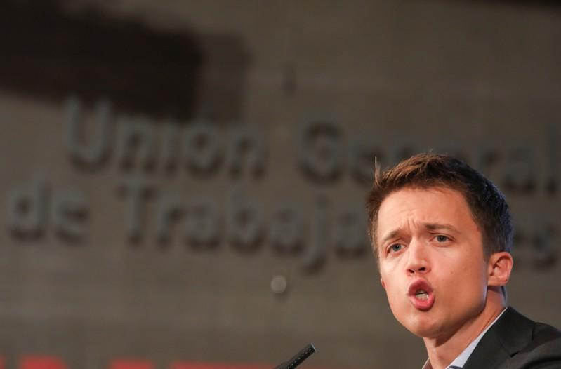 FILE PHOTO: Errejon speaks during the presentation of his new political party in Madrid