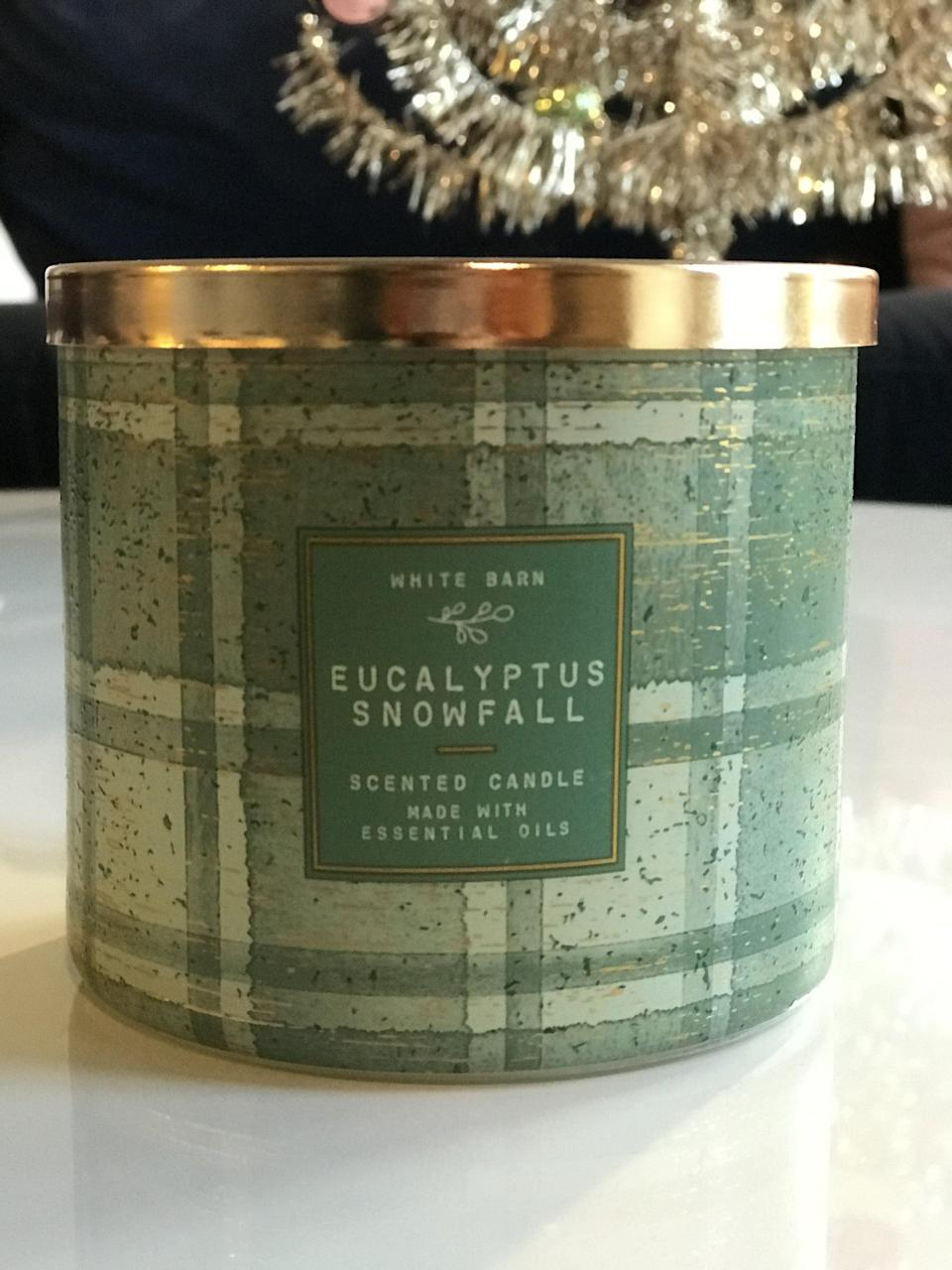 <p><span>Eucalyptus Snowfall 3-Wick Candle</span> ($15, originally $25)</p> <p><strong>What It Smells Like:</strong> This has an essential oils, clean aroma to it. I could light this regularly and never get sick of it.</p>