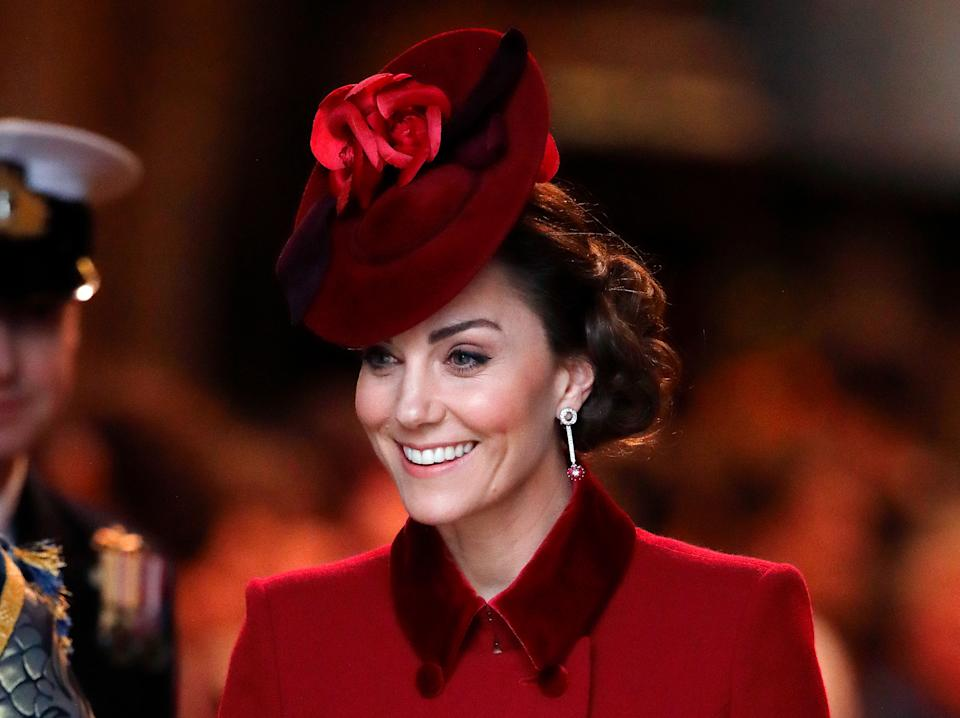 LONDON, UNITED KINGDOM - MARCH 09: (EMBARGOED FOR PUBLICATION IN UK NEWSPAPERS UNTIL 24 HOURS AFTER CREATE DATE AND TIME) Catherine, Duchess of Cambridge attends the Commonwealth Day Service 2020 at Westminster Abbey on March 9, 2020 in London, England. The Commonwealth represents 2.4 billion people and 54 countries, working in collaboration towards shared economic, environmental, social and democratic goals. (Photo by Max Mumby/Indigo/Getty Images)