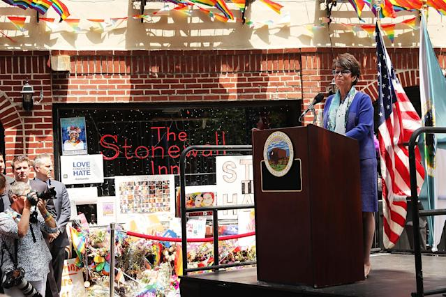 Valerie Jarrett, Senior Adviser to President Barack Obama, speaking at a dedication ceremony officially designating the Stonewall Inn as a national monument to gay rights on June 27, 2016, in New York City. (Photo: Spencer Platt/Getty Images)