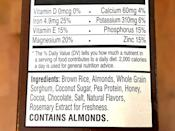 <p>As you'd expect with an RX product, there are minimal ingredients - and no B.S. The Chocolate Almond RX Cereal is made with brown rice, almonds, whole grain sorghum, coconut sugar, pea protein, honey, cocoa, chocolate, salt, natural flavors, and rosemary extract. </p> <p>Note that while this cereal is dairy-free and egg-free made with plant-based pea protein, it's not vegan since it's made with honey.</p>