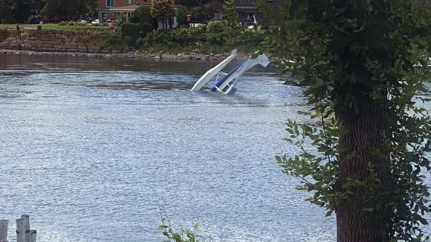 Lydia Aboulian saw the plane crash in the river behind her house and jumped to action, racing to the rescue on her personal watercraft. (Submitted by Lydia Aboulian - image credit)
