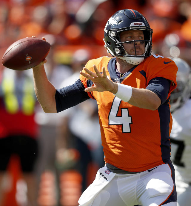 FILE - In this Sept. 16, 2018, file photo, Denver Broncos quarterback Case Keenum (4) looks to pass against the Oakland Raiders during the first half of an NFL football game, in Denver. The Broncos travel top Baltimore for a game against the Ravens on Sunday. (AP Photo/David Zalubowski, File)