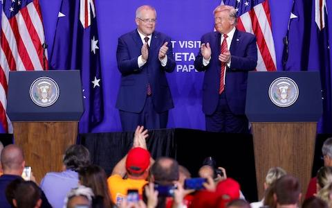 Scott Morrison skipped the United Nations Climate Summit in favour of a rally for President Donald Trump - Credit: John Minchillo/AP