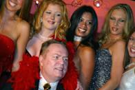 Larry Flynt celebrates his 60th birthday on October 31, 2002 at the opening of his Le Hustler Club, off the Champs-Elysees in Paris