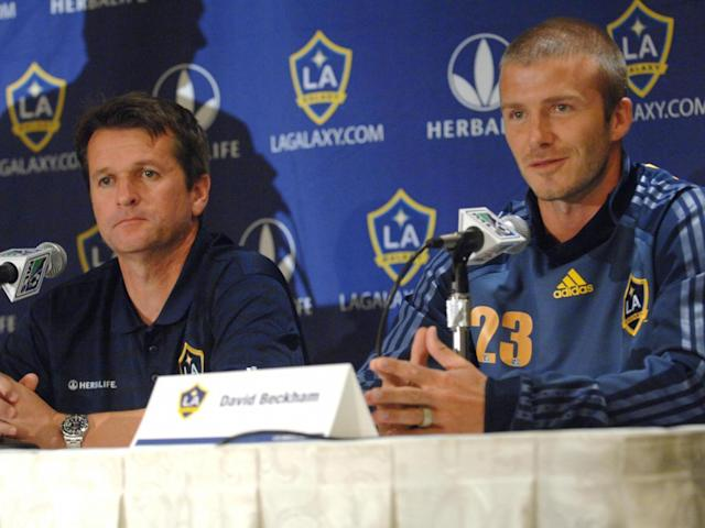 Yallop pictured in his LA Galaxy days, alongside David Beckham (Getty)