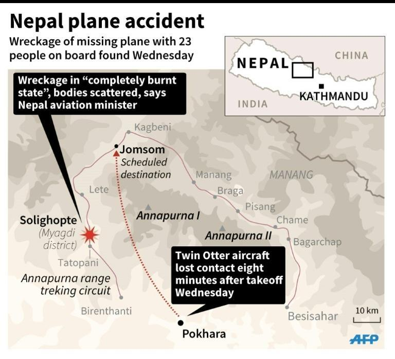 Map of Nepal locating the area where the wreckage of a missing plane with 23 people on board was found Wednesday