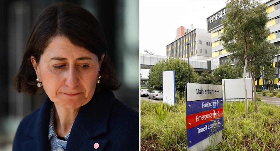 Pictured is NSW Premier Gladys Berejiklian and Royal North Shore Hospital, where a second nurse reportedly tested positive for Covid.