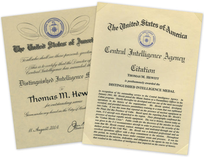 The citation for Tom Hewitt's Distinguished Intelligence Medal, officially awarded in August 2004. The ceremony was held in January 2005. (Photos: Limelight Restoration)