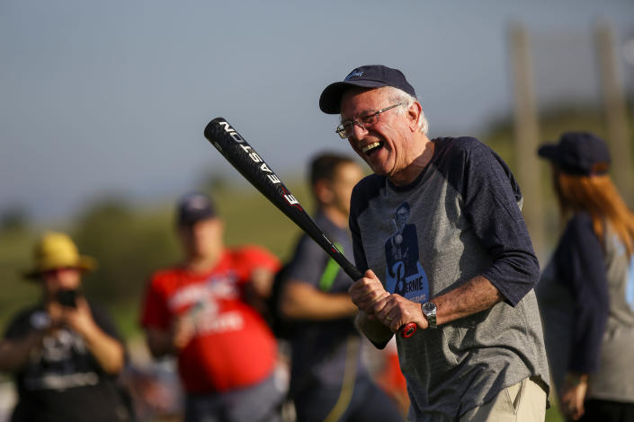 Bernie Sanders takes batting practice at the Field of Dreams in Dyersville, Iowa, in August. (Photo: Joshua Lott/Getty Images)