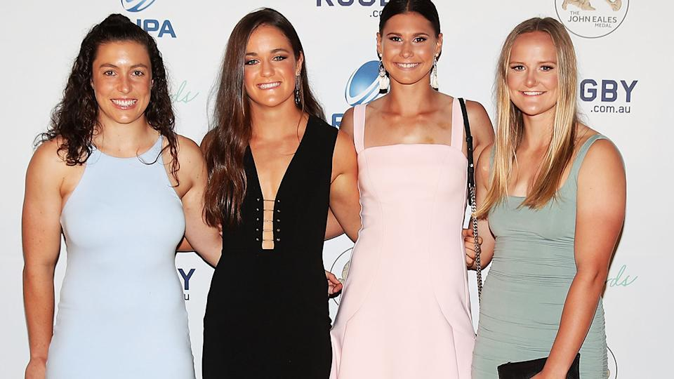 Emilee Cherry, pictured here with Dominique Du Toit, Demi Hayes and Emma Sykes at the 2017 Rugby Australia Awards.