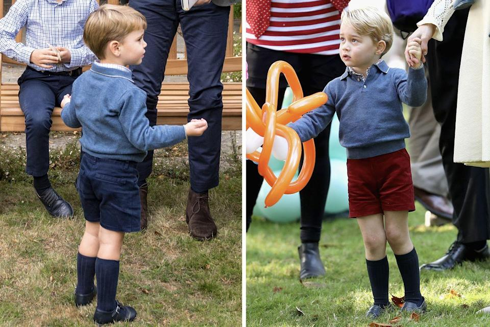 <p>Prince Louis once again borrowed from his elder brother last September, wearing Prince George's old jumper to a private outdoor screening of Sir David Attenborough's new film. George was seen wearing the same garment in 2016, during the Cambridge family's Royal tour of Canada.<br></p>