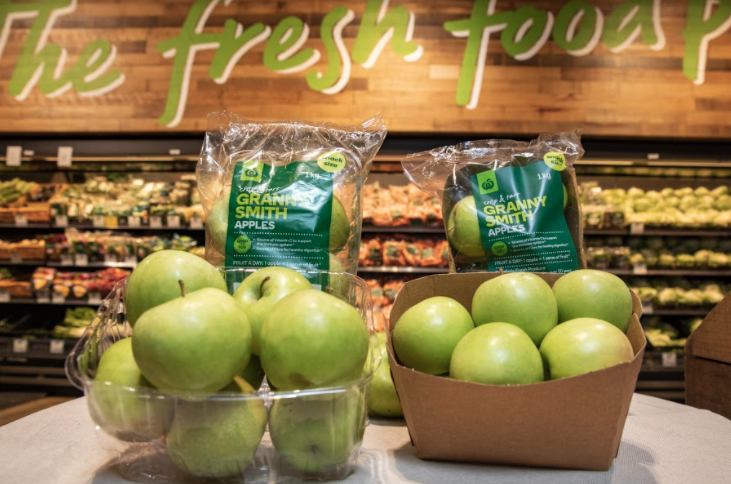 Plastic trays have been removed from apple packaging as well. Source: Woolworths
