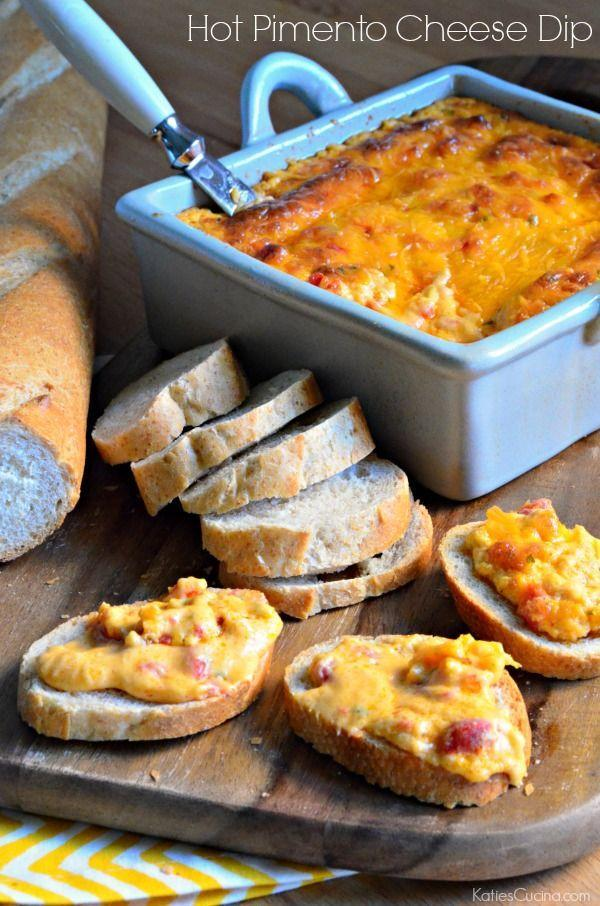 """<p>The classic, cheesy Southern appetizer is perfect on crusty bread.</p><p><strong>Get the recipe at <a href=""""http://www.katiescucina.com/2014/10/hot-pimento-cheese-dip/"""" rel=""""nofollow noopener"""" target=""""_blank"""" data-ylk=""""slk:Katie's Cucina"""" class=""""link rapid-noclick-resp"""">Katie's Cucina</a>.</strong></p>"""