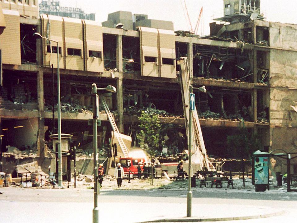 An army bomb disposal robot was working on defusing the device when, at 11.17am on 15 June 1996, time ran out (PA)