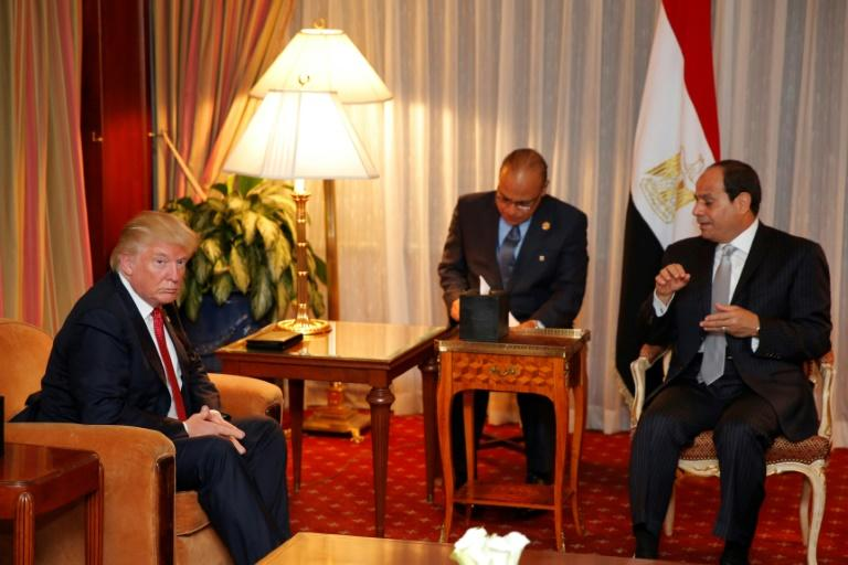 Then-Republican presidential candidate Donald Trump (L) first met Egyptian President Abdel Fattah el-Sisi at the Plaza Hotel in New York in September 2016