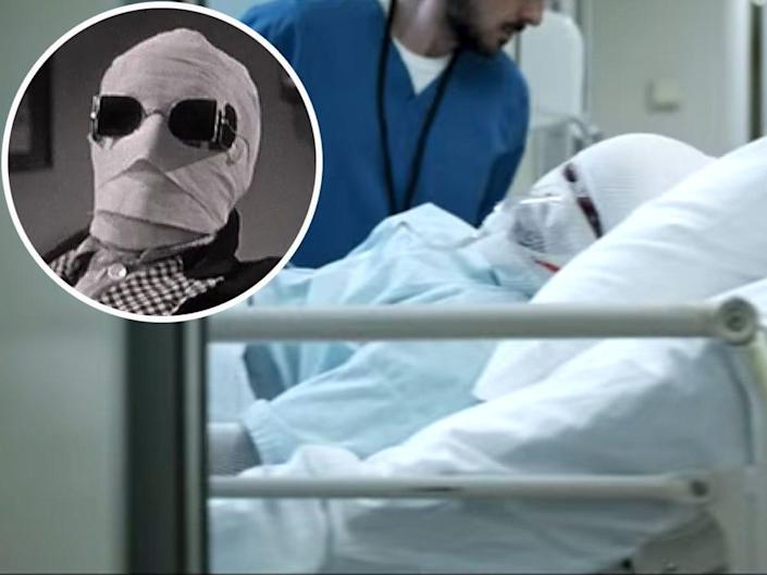 This man with bandages on his face  in the hospital bed with an insert of another man with bandages on his face and sungalsses
