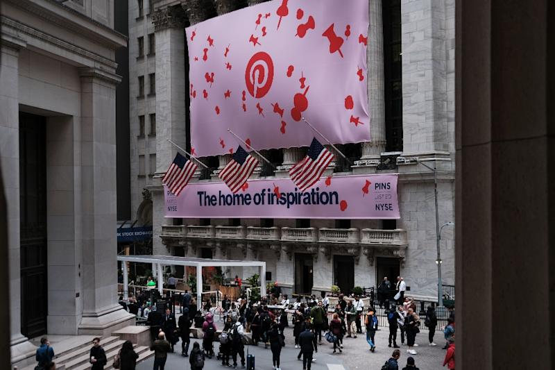 A banner for the online image board Pinterest Inc. at the New York Stock Exchange as shares surge in the company's debut session