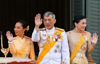 Thailand's newly crowned King Maha Vajiralongkorn, Queen Suthida and Princess Bajrakitiyabha are seen at the balcony of Suddhaisavarya Prasad Hall at the Grand Palace where King grants a public audience to receive the good wishes of the people in Bangkok, Thailand May 6, 2019.REUTERS/Jorge Silva
