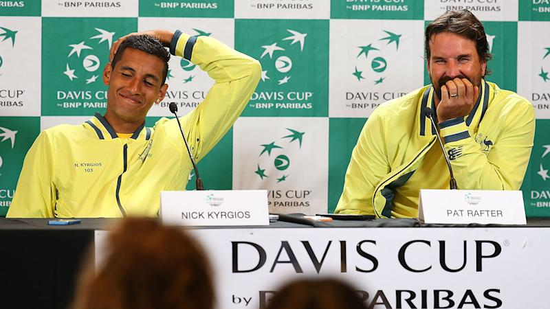 Nick Kyrgios and Pat Rafter, pictured here at a Davis Cup meet in 2014.