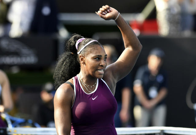 Serena Williams of the U.S., celebrates after winning her semifinal singles match against her compatriot Amanda Anisimova at the ASB Classic in Auckland, New Zealand. Saturday, Jan. 11, 2020. (Andrew Cornaga/Photosport via AP)