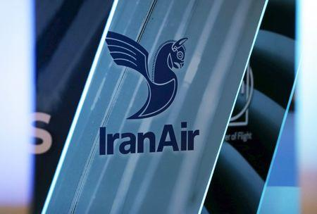 The logo of IranAir is pictured as the company IranAir takes delivery of the first new Western jet under an international sanctions deal in Colomiers