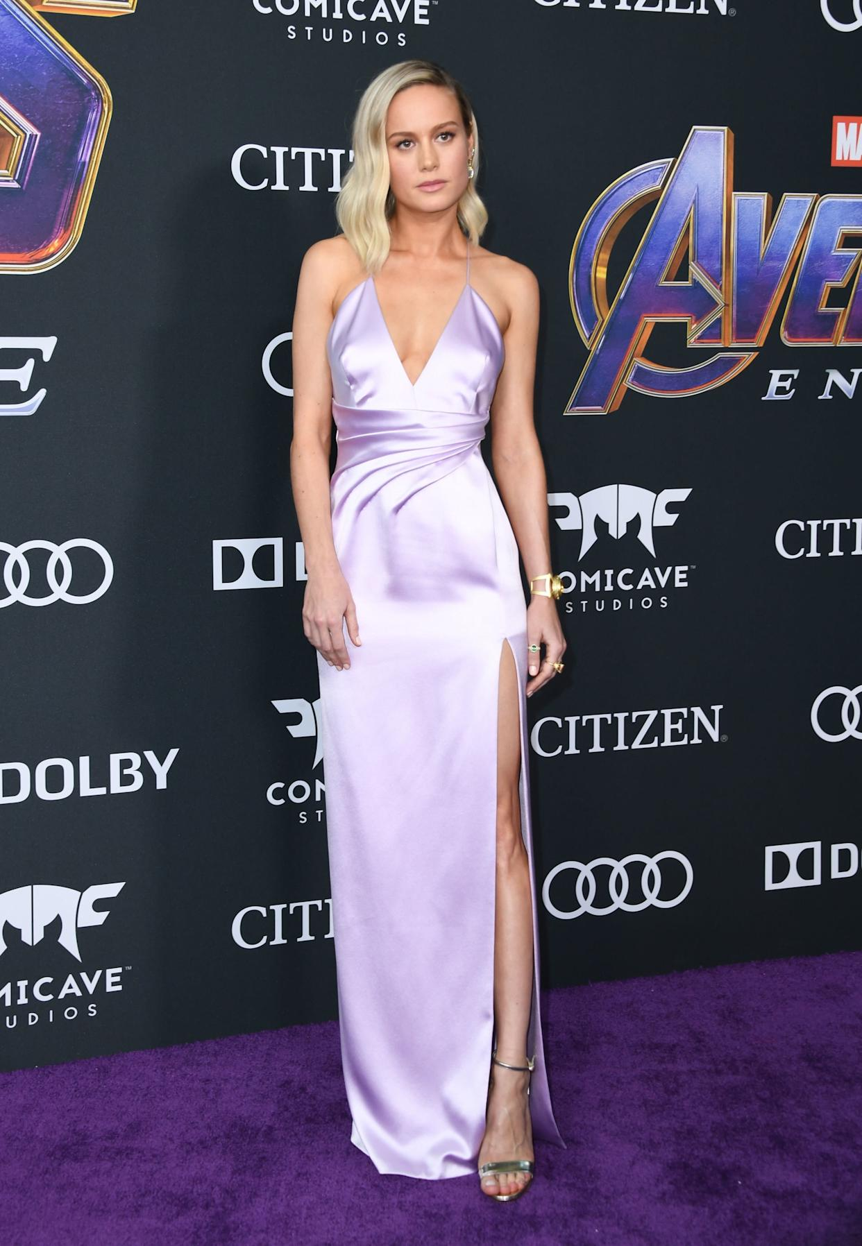 """Brie Larson wears lilac to the world premiere of Marvel Studios' """"Avengers: Endgame"""" at the Los Angeles Convention Center on Monday. (Photo: VALERIE MACON via Getty Images)"""