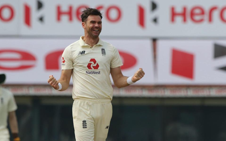 James Anderson of England celebrates the wicket of Shubman Gill of India during day five of the first test match between India and England held at the Chidambaram Stadium in Chennai, Tamil Nadu, India on the 9th February 2021. - Pankaj Nangia/ Sportzpics for BCCI