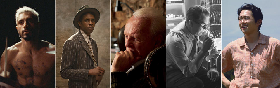"""This combination of photos shows the Oscar nominees for best actor, from left, Riz Ahmed, """"Sound of Metal""""; Chadwick Boseman, """"Ma Rainey's Black Bottom""""; Anthony Hopkins, """"The Father""""; Gary Oldman, """"Mank""""; Steven Yeun, """"Minari."""" (Amazon/Netflix/Sony Pictures Classics/Netflix/A24 via AP)"""