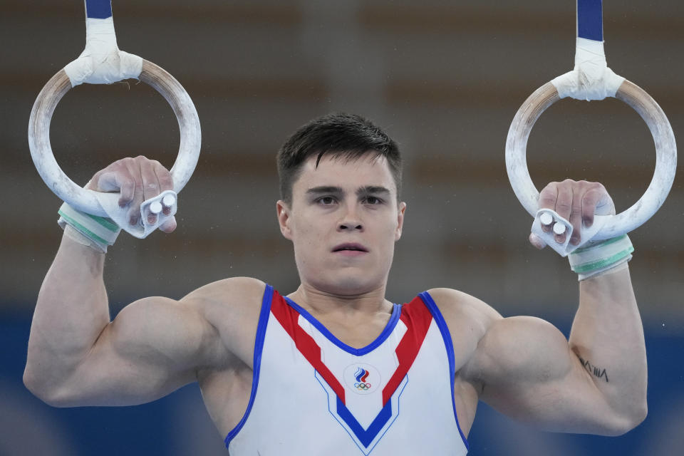 Nikita Nagornyy, of the Russian Olympic Committee, performs on the rings during artistic the gymnastic men's all-around final at the 2020 Summer Olympics, Wednesday, July 28, 2021, in Tokyo. (AP Photo/Ashley Landis)