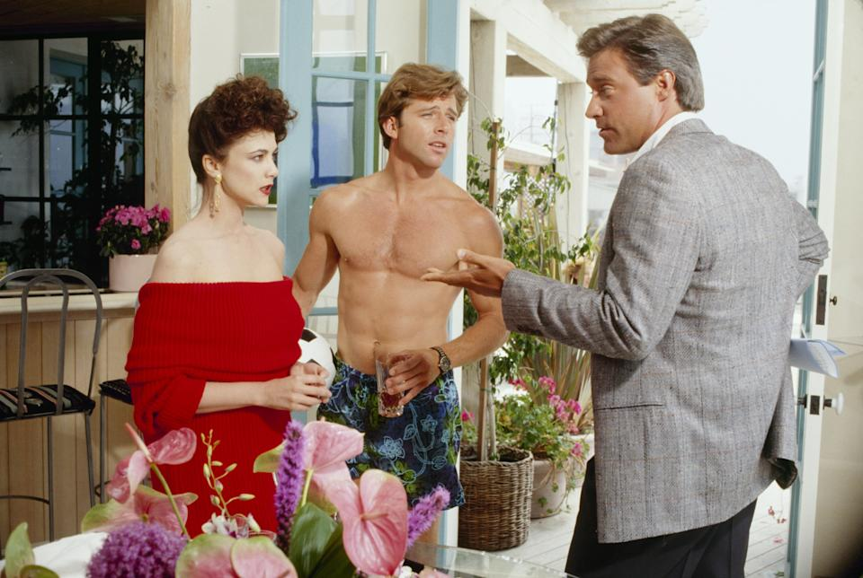Emma Samms in Dynasty alongside Maxwell Caulfield and John James. (Photo by Walt Disney Television via Getty Images Photo Archives/Walt Disney Television via Getty Images)