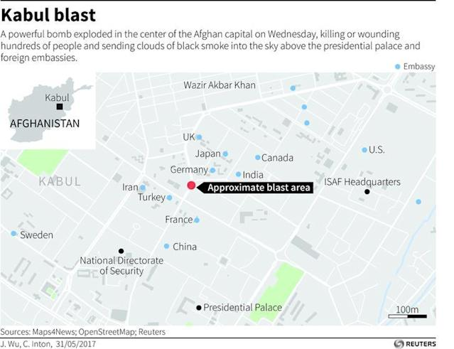 <p>Map showing location of blast in Kabul on May 31, 2017. (Reuters) </p>