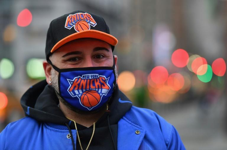 New York Knicks superfan Anthony Donahue before the Knicks' game against Golden State Warriors at Madison Square Garden on February 23, 2021