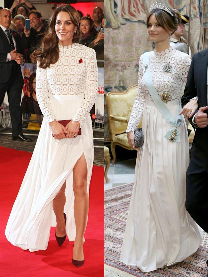 "<p>Catherine, Duchess of Cambridge, attends the U.K. Premiere of ""A Street Cat Named Bob"" in aid of Action On Addiction at The Curzon Mayfair on November 3, 2016 in London, United Kingdom.</p><p>Princess Sofia of Sweden attends for a State Banquet in honor of South Korea's presidential couple at the Royal Palace in Stockholm on June 14, 2019.</p>"