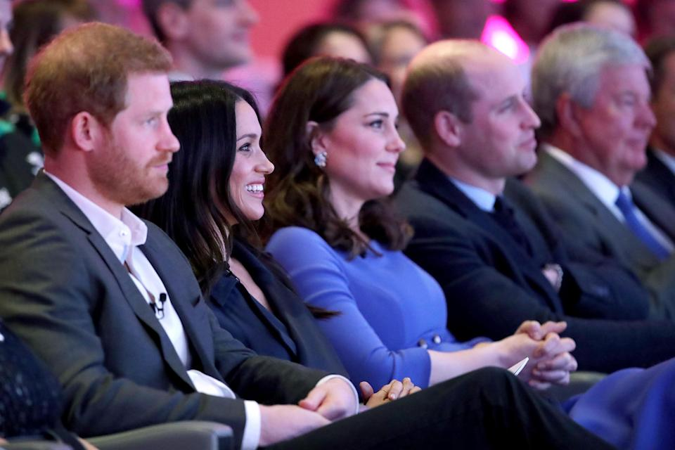The Duke of Sussex and the Duchess of Sussex with the Duchess and Duke of Cambridge during the first Royal Foundation Forum. (PA Images)