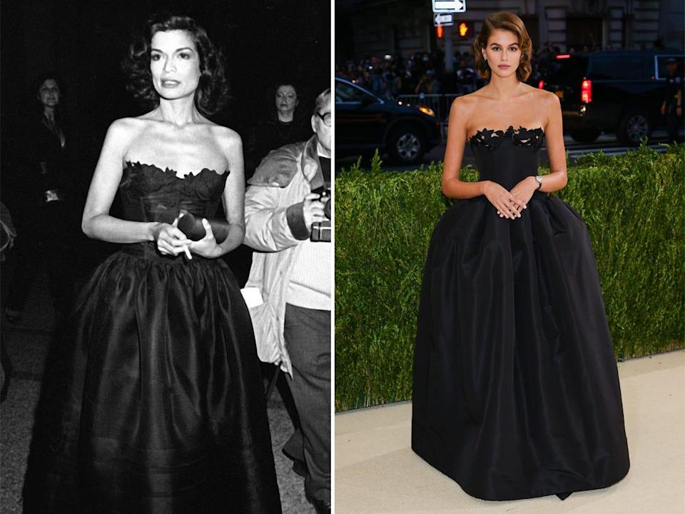 A side-by-side of Bianca Jagger and Kaia Gerber.