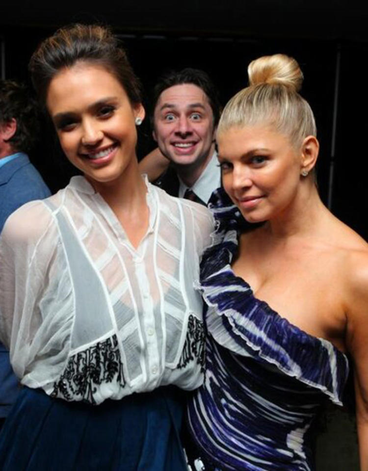 """Hey @jessicaalba this is a great shot of us,"" tweeted Zach after sneaking into this photo of ""Machete"" actress and Fergie. Credit: Twitter"