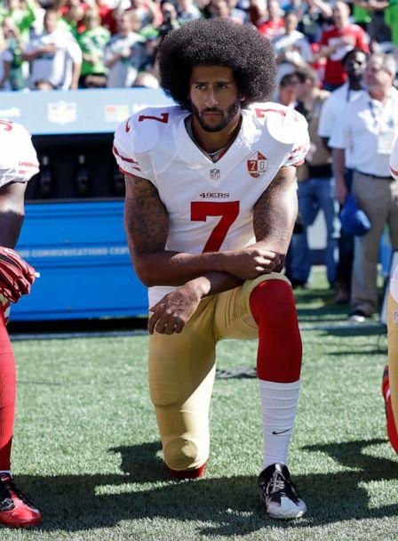 PHOTO: San Francisco 49ers' Colin Kaepernick kneels during the national anthem before an NFL football game against the Seattle Seahawks in Seattle, Sept. 25, 2016. (Ted S. Warren/AP)