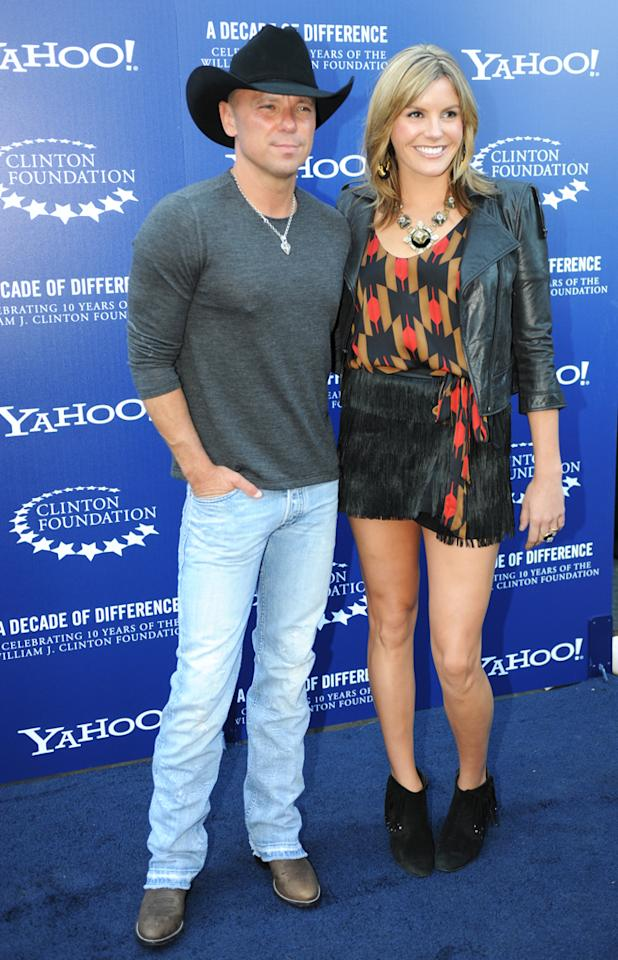 """Kenny Chesney and Grace Potter arrive at the """"A Decade of Difference"""" concert on October 15, 2011, at the Hollywood Bowl, Los Angeles. <br><br>(Photo by Stephanie Cabral/Yahoo!)"""