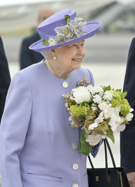 Queen Elizabeth II arrives at Rome's Ciampino military airport to start a one-day visit to Italy and the Vatican, Thursday, April 3, 2014. The British Royals will meet Italian President Giorgio Napolitano during an official lunch at the Quirinale Presidential Palace and Pope Francis at the Vatican in the afternoon. (AP Photo/Daniele Leone) Photo LaPresse 04-03-2014 Rome (Italy) News Queen Elizabeth and Prince Philip arrive at Ciampino airport